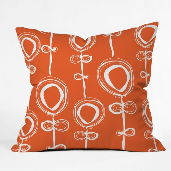 Rachael Taylor Contemporary Orange Throw Pillow