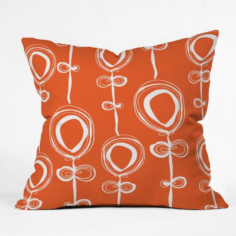Rachael Taylor Contemporary Orange Throw Pillow