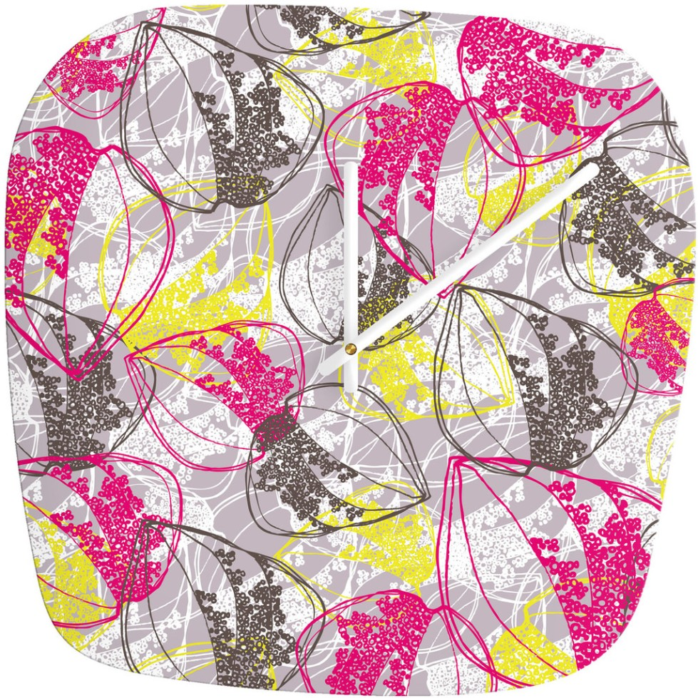 Rachael Taylor Organic Retro Leaves Modern Clock