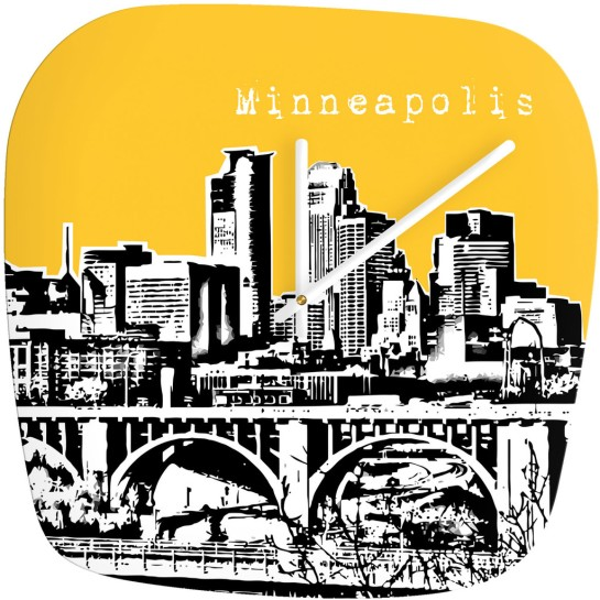 Bird Ave Minneapolis Yellow Modern Wall Clock