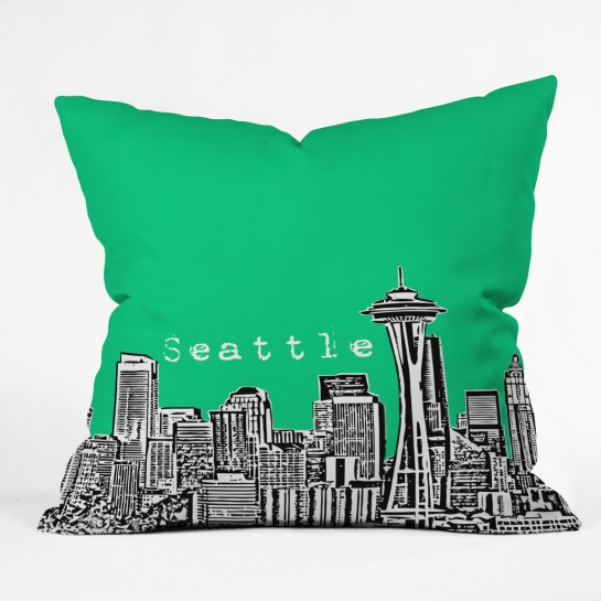 Bird Ave Seattle Green Throw Pillow