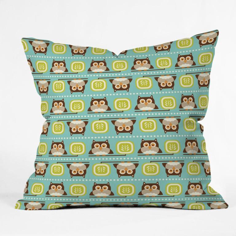 Heather Dutton Owl Town Teal Throw Pillow