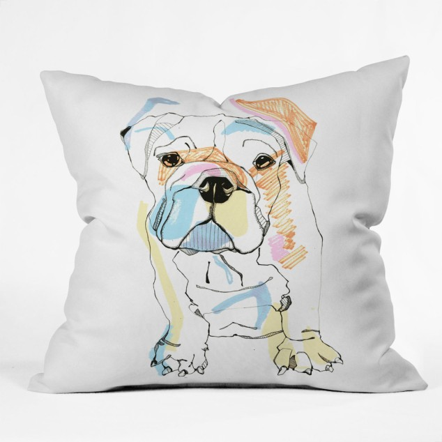 Casey Roders Bulldog Color Throw Pillow