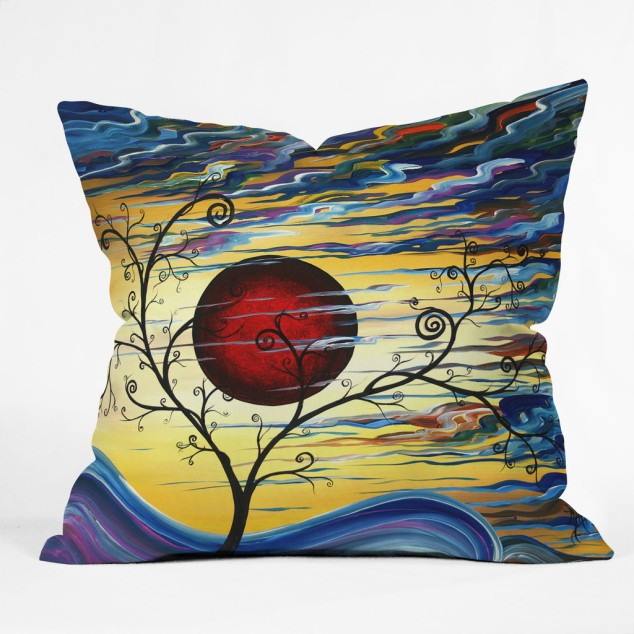 Madart, Inc. Curling With Delight Throw Pillow