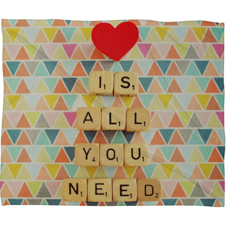 Happee Monkee Love Is All You Need Fleece Throw Blanket