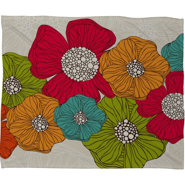 Valentina Ramos Flowers Fleece Throw Blanket