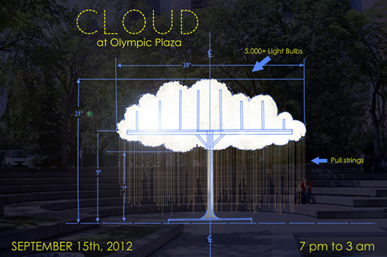 "Calgary-based artist Caitlind r.c. Brown and collaborator Wayne Garrett ""CLOUD"""