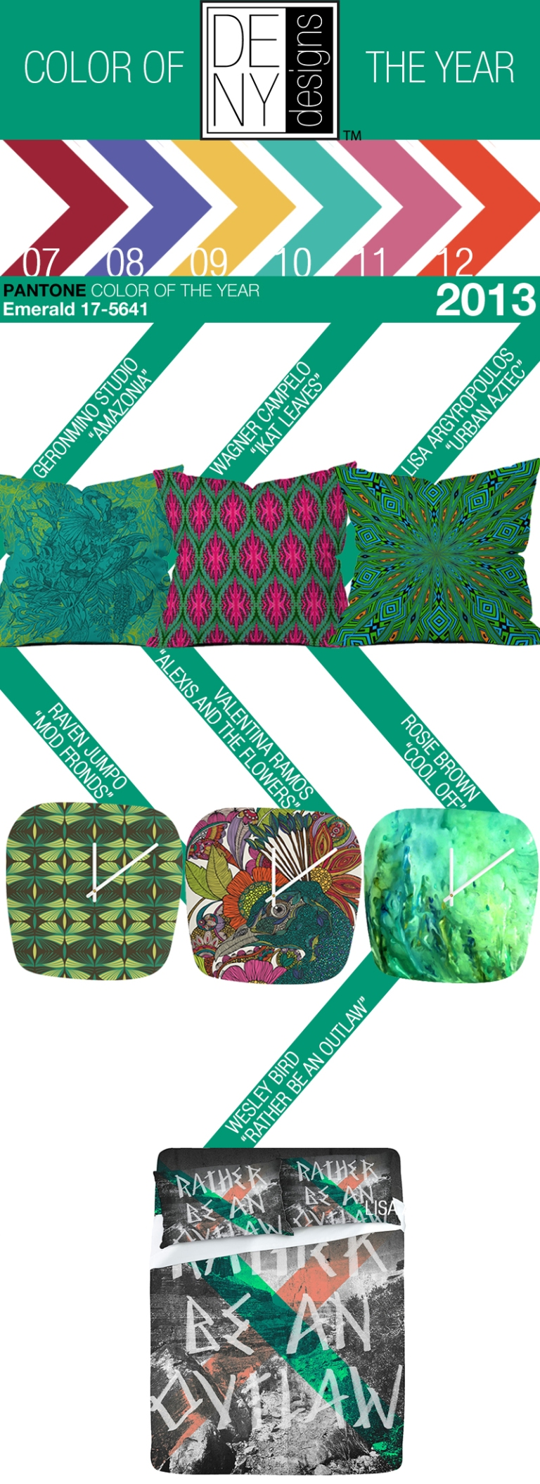 @DENYdesigns artists use Emerald Color of the Year for the home