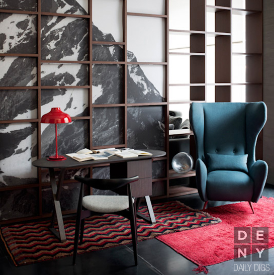 Daily Digs | Lipstick Red Meets Jewel Toned Blue Interior