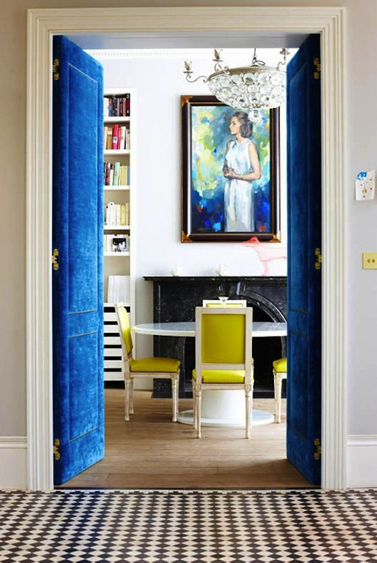 Velvet Blue and Yellow Decor - Daily Digs