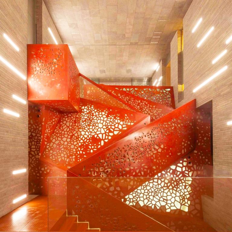 Copper staircase, Villa Mallorca. Arup.