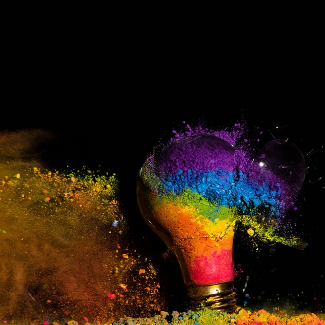 High Speed Photos of Colorful Exploding Light Bulbs!