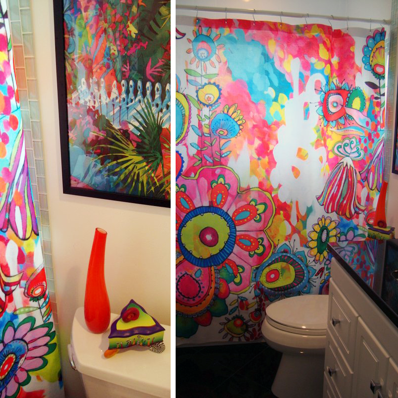 Colorful bathroom shower curtain deny designs