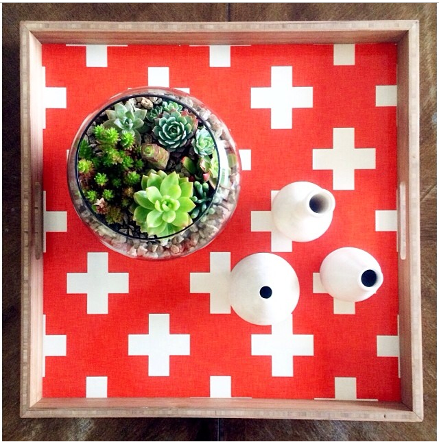 Perfectly styled DENY Designs Tray with artwork by Holli Zollinger!