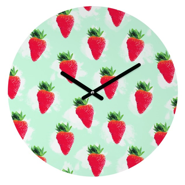 jacqueline-maldonado-watercolor-strawberries-round-clock-v2