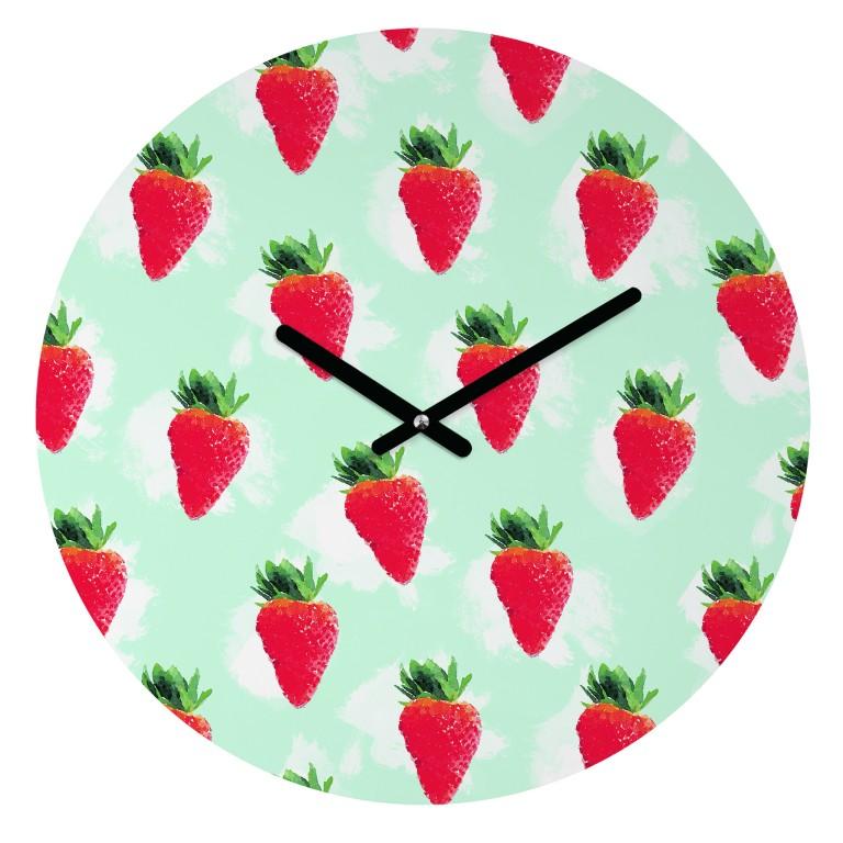 jacqueline-maldonado-watercolor-strawberries-round-clock-v2