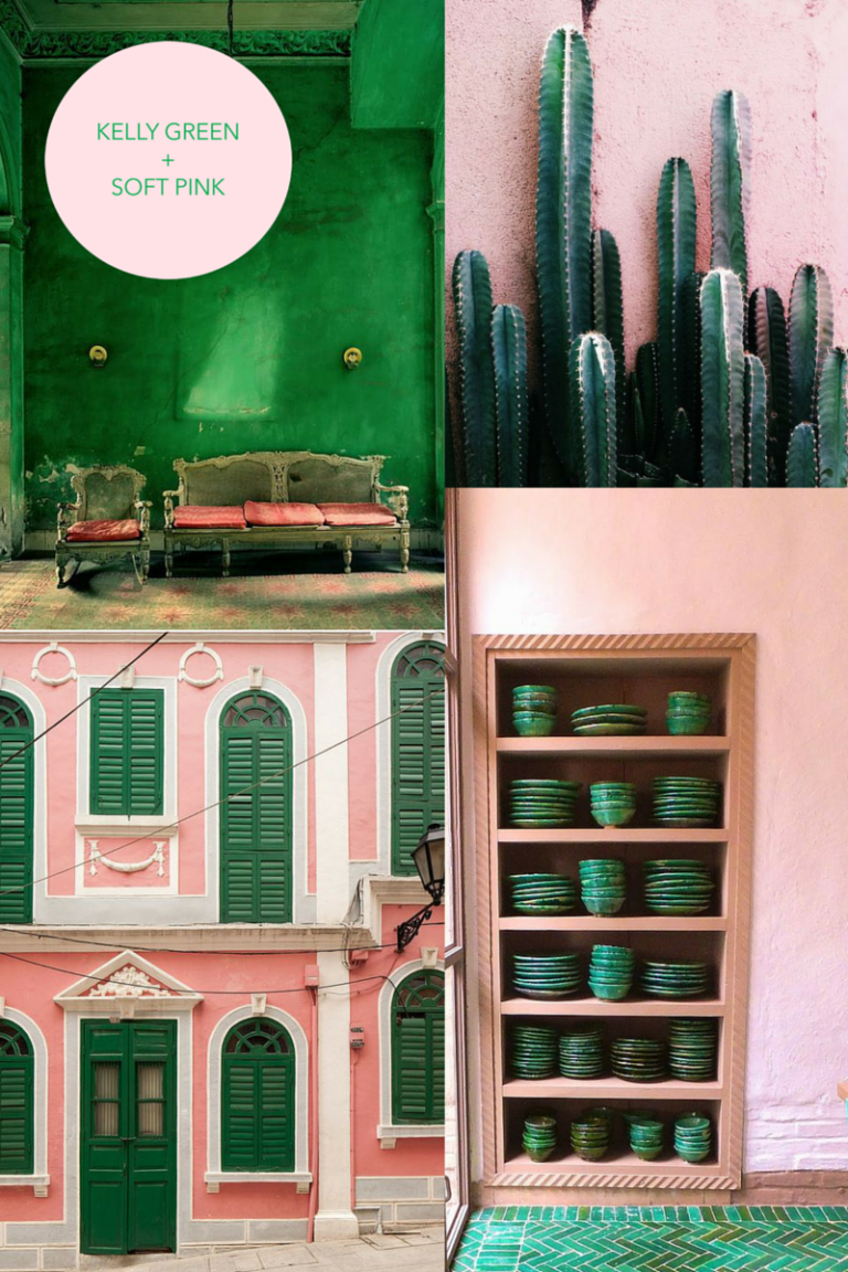 Kelly Green and Soft Pink Color Trend